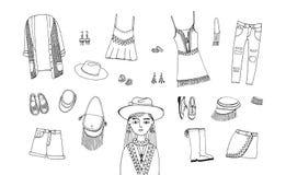 Bohemisk modestiluppsättning Boho och zigensk kläder, tillbehörsamling Dragen illustration för kontur hand Royaltyfria Foton