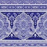 Bohemiskt indiskt Mandalatryck Stil för tappninghennatatuering stock illustrationer
