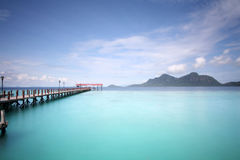 Bohey Dulanng bryggabyar på Semporna Sabah Malaysia Arkivbild