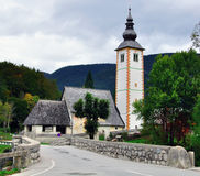 Bohinj湖的教堂 免版税图库摄影