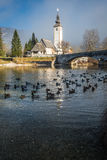 Bohinj. The church dedicated to John the Baptist in Ribcev Laz on the Bohinj Lake, in Slovenia Stock Photo