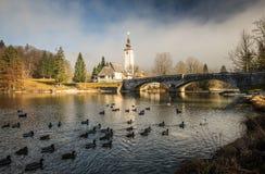 Bohinj. The church dedicated to John the Baptist in Ribcev Laz on the Bohinj Lake, in Slovenia Stock Images