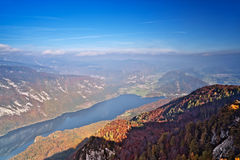 Bohinj lake in autumn. Aerial view Royalty Free Stock Photos