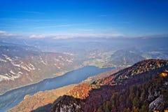 Bohinj lake in autumn. Aerial view Royalty Free Stock Photos