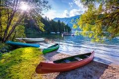 Bohinj Lake with boats, Triglav National Park Royalty Free Stock Photography