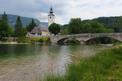 Bohinj lake and church Royalty Free Stock Photography