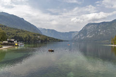 Bohinj Lake landscape and Julian Alps, Slovenia. Royalty Free Stock Images