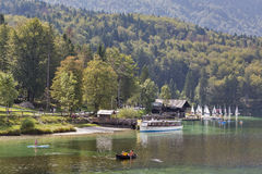 Bohinj Lake landscape and Julian Alps in Slovenia. Royalty Free Stock Images