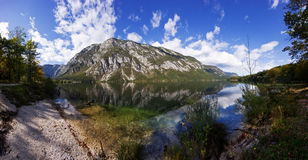 Bohinj lake. And mountains.  Panorama of wild landscape, natural environment Royalty Free Stock Photography