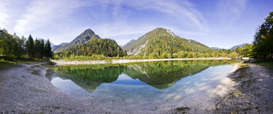 Bohinj lake and mountains.  Panorama of wild landscape, natural environment. Stock Images