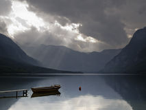 Bohinj lake nature with small boat Royalty Free Stock Photos
