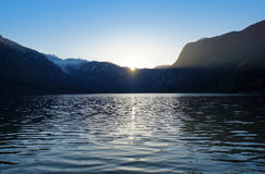 Bohinj lake at sunset Stock Photography