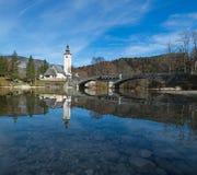Bohinj sjö, Slovenija Arkivbilder