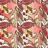 Bohnen-Blätter und Frucht Autumn Abstract Seamless Floral Pattern lizenzfreie abbildung