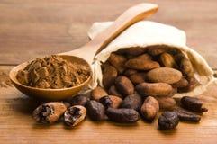 Bohnen des Kakaos (Kakao) auf natürlicher hölzerner Tabelle Lizenzfreie Stockfotografie