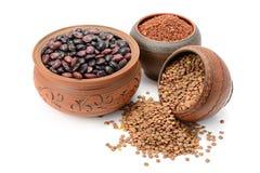 Bohnen, Reis und Linsen Lizenzfreie Stockfotos