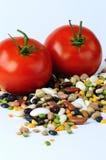 Bohnen und Tomaten Stockfotos