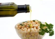 Bohnensalat mit Olivenöl Lizenzfreies Stockbild