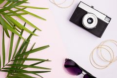 Boho样式嘲笑:棕榈叶、葡萄酒照相机、金黄手镯和太阳镜在五颜六色的桃红色和紫色背景 浓缩的旅行 免版税图库摄影