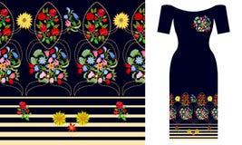 Boho花束 民间艺术启发的晚礼服设计 皇族释放例证