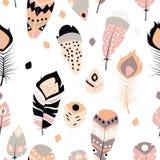 boho葡萄酒部族种族手拉的五颜六色的羽毛的汇集 免版税库存图片
