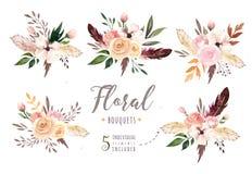 Вручите изолированной чертежом акварели boho флористическую иллюстрацию с листьями, ветвями, цветками Богемское искусство растите