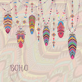 Boho Abstract Design with Bird Feather and Beads. Ethnic Tribal Decorative Background stock illustration