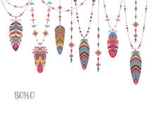 Boho Abstract Design with Bird Feather and Beads. Stock Photography