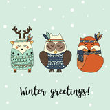 Boho animals in hand drawn style. Winter, seasonal greeting card, banner, vector background.   Royalty Free Stock Photo