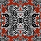 Boho-Art, ethnische schwarze Verzierung, nahtloses Muster Abstrakte Blumenbetriebsnatürliches Muster Lizenzfreies Stockfoto