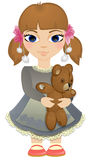 Boho baby girl with bear Royalty Free Stock Photos
