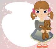 Boho baby girl with bear card Royalty Free Stock Photo