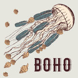Boho background with jellyfish stock illustration