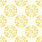Boho barwidła mandala Sunburst tła Monochromatyczny Żółty Shibori Odzwierciedlający Wektorowy Bezszwowy wzór ilustracji