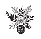 Boho black decorative plants and flowers collection. Royalty Free Stock Photo