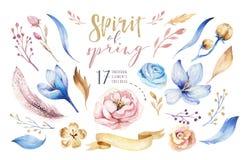 Boho blommauppsättning Färgrik blom- samling med sidor och blommor som drar vattenfärgen Vår eller sommarbukettdesign stock illustrationer