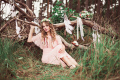 Boho Bride With Dream Catchers In Forest Stock Image