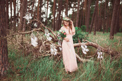 Boho Bride With Dream Catchers In Forest Stock Photography