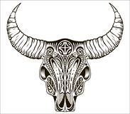 Boho chic, ethnic, native american or mexican bull skull with feathers on horns. Tribal hand drawn vector illustration royalty free illustration