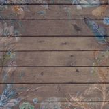 Boho Chic Fall Wood Background with Flowers and Feathers stock photography