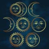 Boho chic flash tattoo design hand drawn art gold sun and crescent moon set. Antique style design vector illustration stock illustration