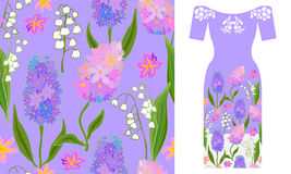 Boho chic. Party dress design. Seamless vector pattern with hyacinths and lilies of the valley. Summer textile collection Royalty Free Stock Image