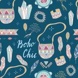 Boho Chic seamless  pattern.  Summer festival design. Boho Chic seamless  pattern. Young and free. Summer festival design Royalty Free Stock Photos