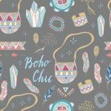 Boho Chic seamless  pattern.  Summer festival design. Boho Chic seamless  pattern. Young and free. Summer festival design Stock Photos