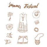 Boho Chic seamless  pattern. Young and free. Summer festival design Royalty Free Stock Photo