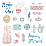 Boho Chic seamless  pattern. Young and free. Summer festival design Stock Photo