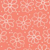 Boho Coral Flower Summer Blooms. Purple, White Floral Seamless Repeating Pattern. All Over Print Vector. Trendy Hand Drawn Decorative Paper Cut Style for vector illustration