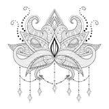 Boho doodle Lotus flower, blackwork tattoo design Stock Image