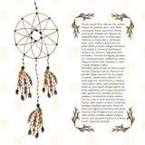 Boho drömstoppare Vektorillustration i etnisk stil Designmall med hand dragen garnering stock illustrationer