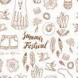 Boho Elegant naadloos patroon Het ontwerp van het de zomerfestival Royalty-vrije Stock Fotografie